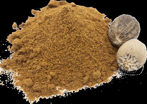 Muskat goldbraun aus ganzen Nüssen gemahlen