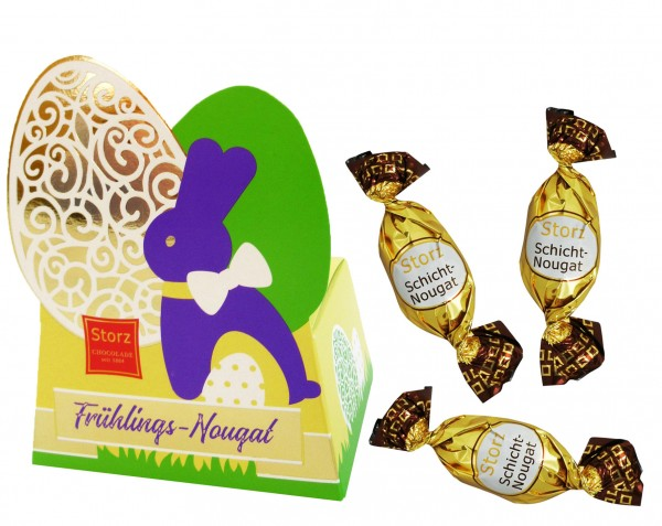 Frühlingsnougat Geschenkbox Hase